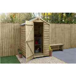 4ft x 3ft (1.3m x 0.9m) Pressure Treated Overlap Apex Wooden Garden Shed With Single Door - Modular
