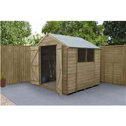 INSTALLED 7ft x 7ft (2.2m x 2.1m) Pressure Treated Overlap Apex Wooden Garden Shed With Double Doors and 2 Windows - INSTALLATION INCLUDED