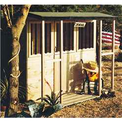 6ft x 4ft (1.79m x 1.19m) - Jail House Playhouse - 12mm Tongue and Groove - 2 Windows - Single Door - Pent Roof (CORE)