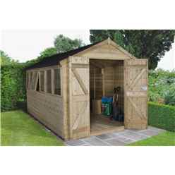 INSTALLED 12ft x 8ft (3.71m x 2.63m) Pressure Treated Tongue and Groove Apex Wooden Shed With Double Doors and 6 Windows - INSTALLATION INCLUDED