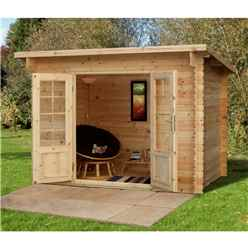 3.0m x 2.0m Compact Log Cabin with Double Doors (28mm Wall Thickness) **Includes Free Shingles**