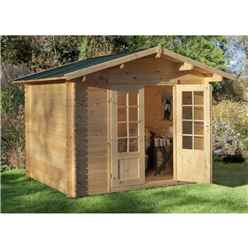3m x 2.5m Compact Log Cabin with Double Doors (28mm Wall Thickness) **Includes Free Shingles**