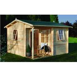 3.6m x 3.6m Log Cabin with Integrated Porch and Double Doors (28mm Wall Thickness) **Includes Free Shingles**