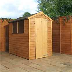 INSTALLED 6ft x 4ft (1.78m x 1.31m) Super Saver Overlap Apex Shed with Single Door + 2 Windows (10mm Solid OSB Floor) - INCLUDES INSTALLATION