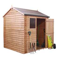 INSTALLED 6ft x 6ft (1.97m x 1.97m) Reverse Overlap Apex Shed With Single Door + 1 Window (10mm Solid OSB Floor) - INCLUDES INSTALLATION