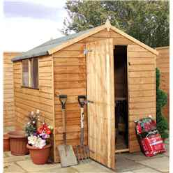 INSTALLED 8ft x 6ft (2.40m x 1.90m) Super Saver Overlap Single Door Apex Shed + 2 Windows (Solid 10mm OSB Floor) - INCLUDES INSTALLATION