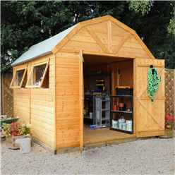 INSTALLED 10ft x 8ft (3.0m x 2.4m) Deluxe Tongue & Groove Dutch Barn With Double Doors + 2 Windows (12mm T&G Floor & Roof) - INCLUDES INSTALLATION