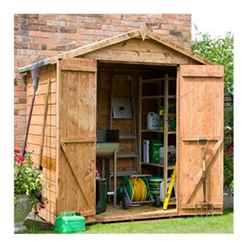 INSTALLED 4ft x 6ft (1.15m x 1.83m) Tongue & Groove Windowless Apex Shed With Double Doors (10mm Solid OSB Floor) - INCLUDES INSTALLATION