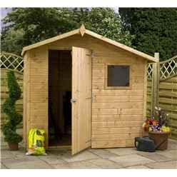 INSTALLED 7ft x 5ft (2.25m x 1.45m) Tongue & Groove Offset Apex Shed With Single Door + 1 Window (10mm Solid OSB Floor) - INCLUDES INSTALLATION