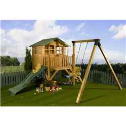 INSTALLED Poppy Tower Playhouse, Slide & Swing 5ft x 7ft - INCLUDES INSTALLATION