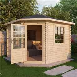 INSTALLED 3m x 3m OHIO Corner Log Cabin (Single Glazing) + Free Floor & Felt & Safety Glass (28mm) - INCLUDES INSTALLATION