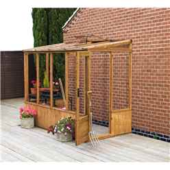 INSTALLED 8ft x 4ft (2.5m x 1.3m) Pent Greenhouse With Skylight (2.49m x 1.31m) (No Floor) INCLUDES INSTALLATION