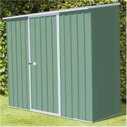 **PRE-ORDER:DUE BACK IN STOCK: 22ND DECEMBER** INSTALLED 8ft x 3ft (2.3m x 0.8m) Space Saver Pale Eucalyptus Metal Shed (2.26m x 0.78m) INCLUDES INSTALLATION