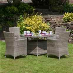 4 Seater Wentworth Round Carver Dining Set - 110cm Table with 4 Carver Chairs incl cushions - Free Next Working Day Delivery (Mon-Fri)