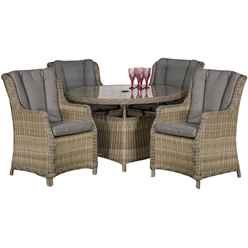 ** OOS ** 4 Seater Wentworth Round Highback Comfort Dining Set - 110cm Table with 4 Highback Comfort Chairs incl. cushions - Free Next Working Day Delivery (Mon-Fri)
