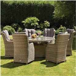 6 Seater Wentworth Round Highback Comfort Dining Set - 140cm Table with 6 Highback Comfort Chairs incl. cushions - Free Next Working Day Delivery (Mon-Fri)