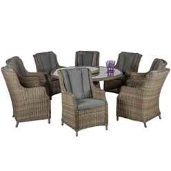 **DISCO 29/04/19** 8 Seater Wentworth Comfort Dining Set - 180cm Round Table with Lazy susan with 8 Highback Comfort Chairs incl. cushions - Free Next Working Day Delivery (Mon-Fri)