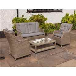 4 Seater Wentworth Highback Comfort Lounging Set - 2 Seater Highback Comfort Sofa, 2 Highback Comfort Armchairs and Coffee Table (incl. cushions) - Free Next Working Day Delivery (Mon-Fri)
