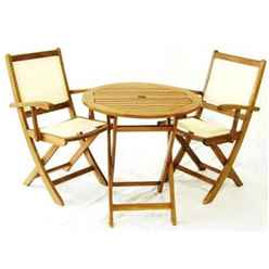2 Seater York Bistro Set with Round Table and 2 Henley Lowback Folding Armchairs - Free Next Working Day Delivery (Mon-Fri)