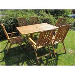 6 Seater Henley Rectangular Dining Set with 6 Manhattan Recliner Chairs - Free Next Working Day Delivery (Mon-Fri)