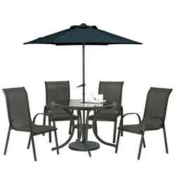 **OOS** 4 Seater Set Black Cayman Rounded Set with FREE Parasol - Free Next Working Day Delivery (Mon-Fri)