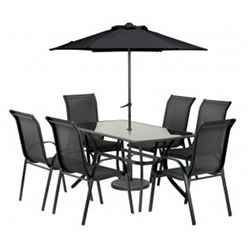 **OOS** 6 Seater Set Black Cayman Rounded Set with FREE Parasol - Free Next Working Day Delivery (Mon-Fri)