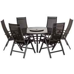 **OOS** 6 Seater Black Sorrento Deluxe Recliner Set - Free Next Working Day Delivery (Mon-Fri)*