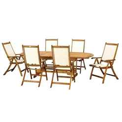 6 Seater HENLEY RECTANGULAR DINING SET WITH 6 HENLEY RECLINER CHAIRS - Free Next Working Day Delivery (Mon-Fri)