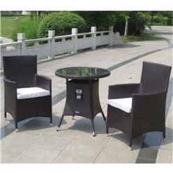 2 Seater Naples Bistro Set - 70cm Glass Top Table with 2 Carver Chairs incl. cushion - Free Next Working Day Delivery (Mon-Fri)
