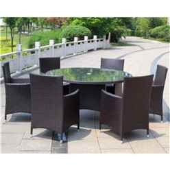 Naples 6 Seater Round Dining Set - 140cm Round Glass Top Table with 4 Carver Chairs incl. cushion - Free Next Working Day Delivery (Mon-Fri)