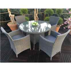 4 Seater MADISON Round Dining Set - 110cm Round Table with 4 Carver Chairs incl.cushions - Free Next Working Day Delivery (Mon-Fri)