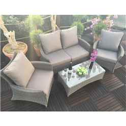 4 Seater MADISON DELUXE LOUNGE SET 2 seater Sofa with Coffee Table & 2 x Lounging ArmChairs - Free Next Working Day Delivery (Mon-Fri)