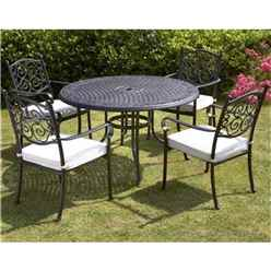 ** OOS ** 4 Seater Versailles 124cm Round Table with 4 Stacking Chairs incl. cushion - Free Next Working Day Delivery (Mon-Fri)