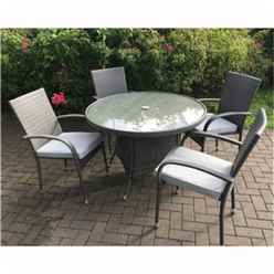 4 Seater MARLOW Bistro Set - 70cm Glass Top Table with 2 Stacking Chairs (MAR002)