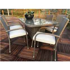 6 Seater Marlow Rectangular Dining set - 150cm x 90cm Glass Top Table with 6 Stacking Chairs incl. Cushions