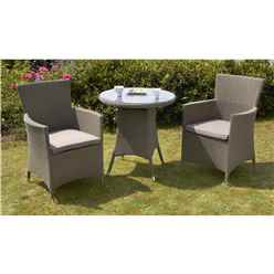 **OOS** 2 Seater MARLOW Bistro Set - 70cm Glass Top Table with 2 Carver Chairs incl. cushion