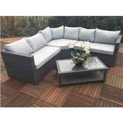 6 Seater MARLOW Triangle Corner Lounging Set Alum. - 1 pc RH Sofa , 1 pc LH Sofa , 1 pc large Triangular Corner Seat and Coffee table with Shelf