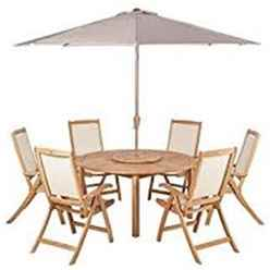 6 Seater Virginia Recliner Set with Ivory Parasol - FSC TEAK Virginia Round 150cm Fixed Legs Table & Lazy Susan with 6 St. Tropez Recliner Chairs and 3m Parasol
