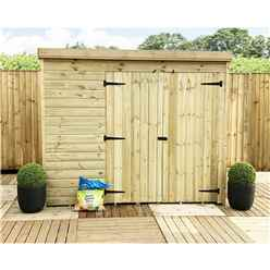 INSTALLED 7FT x 7FT Windowless Pressure Treated Tongue & Groove Pent Shed + Double Doors - INCLUDES INSTALLATION