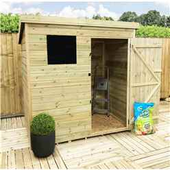 INSTALLED 6FT x 6FT Pressure Treated Tongue & Groove Pent Shed + 1 Window + Safety Toughened Glass + Single Door - INCLUDES INSTALLED