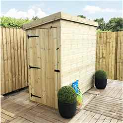 4FT x 4FT Windowless Pressure Treated Tongue & Groove Pent Shed + Side Door