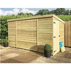 12FT x 7FT Windowless Pressure Treated Tongue & Groove Pent Shed + Side Door