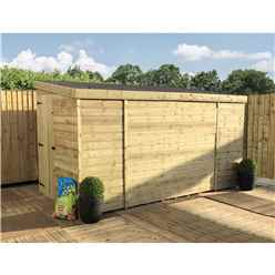 INSTALLED 12FT x 8FT Windowless Pressure Treated Tongue & Groove Pent Shed + Side Door - INCLUDES INSTALLATION