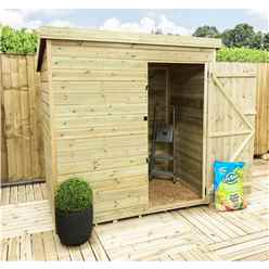 INSTALLED 6FT x 6FT Windowless Pressure Treated Tongue & Groove Pent Shed + Single Door INCLUDES INSTALLATION