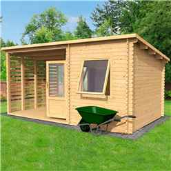 5m x 3m Corner Cabin with Side Area - Single Glazing (28mm Tongue and Groove Logs)
