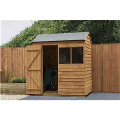 INSTALLED 4ft x 6ft (1.3m x 1.8m) Reverse Apex Dip Treated Overlap Shed With Single Door and 1 Window