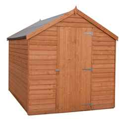 INSTALLED - 7ft x 5ft (2.05m x 1.62m) - Super Value Overlap - Apex Wooden Shed - Windowless - Single Door - 10mm Solid OSB Floor INSTALLATION INCLUDED