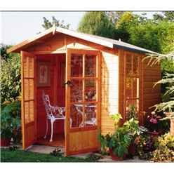INSTALLED 7ft x 7ft (2.05m x 1.98m) - Premier Wooden Summerhouse - Pressure Treated - Double Doors - 12mm T&G Walls - Floor - Roof