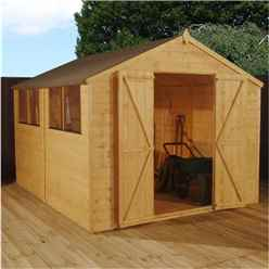 10ft x 6ft Select Tongue And Groove Apex Shed With 2 Windows And Double Door (12mm Tongue and Groove Floor) (10mm Solid OSB Roof) - 48hr + Sat Delivery*