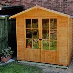 INSTALLED 7ft x 5ft (1.55m x 2.05m) - Premier Wooden Summerhouse - Double Doors - 12mm Tongue And Groove Floor INSTALLATION INCLUDED